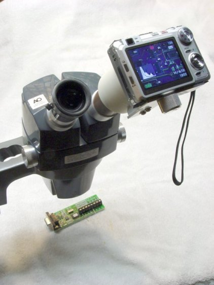 Camera on Microscope Eyepiece