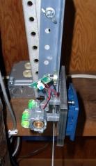 Laser pointer on bracket on counterweight gantry