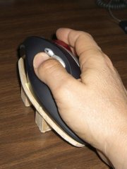 Rotated trackball in use