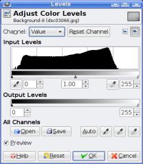 GIMP Level Adjustment Window
