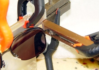 Aligning earpiece and frame for epoxy