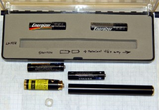 Laser pointer battery orientation: positive DOWN