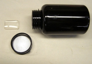 Raw material: rectangular lens and opaque bottle