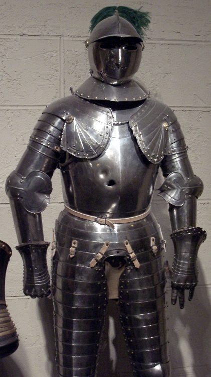 Armor with a bullet hole.
