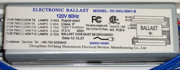 Electronic Ballast Dataplate