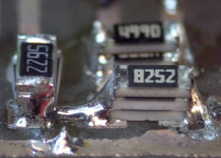 Three sets of stacked chip resistors