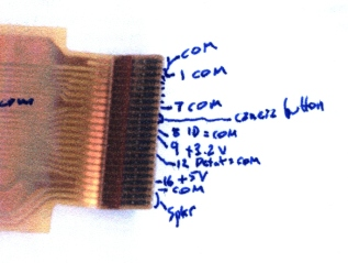 Flex connector pinout at main PCB