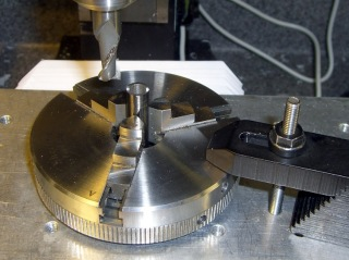 Milling pins in 3-jaw chuck