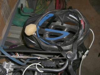Helmet hanging on Tour Easy seat