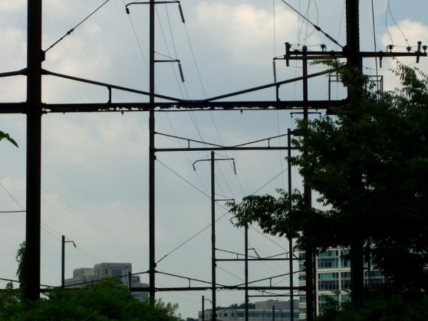 Rusted railway catenary support