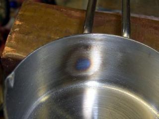 Heat discoloration inside cup