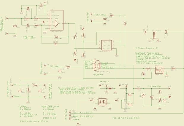 GPS + Voice HT Interface schematic - revised 15 July 2010