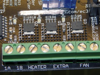 Extruder Controller with scraped-off solder mask