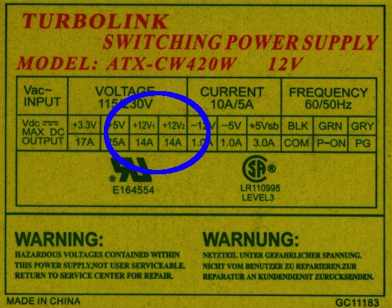ATX Power Supply Dual +12 V Outputs: Fakery Thereof | The Smell of ...