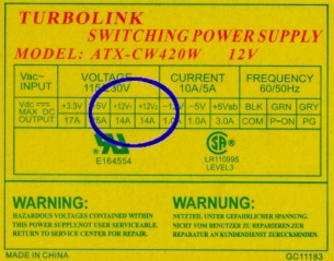 Turbolink ATX-CW420W power supply data plate