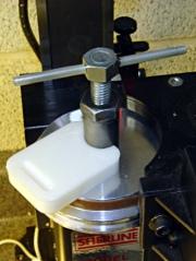 Locking pin holder in use