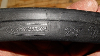 Schwalbe tube with tire liner abrasion