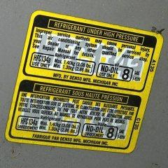 2000 Toyota Sienna Refrigerant Sticker