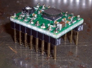 Pololu stepper board - epoxy blob on driver chip