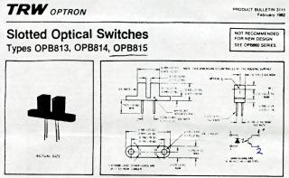 Original OPB815 Datasheet Pinout Diagram