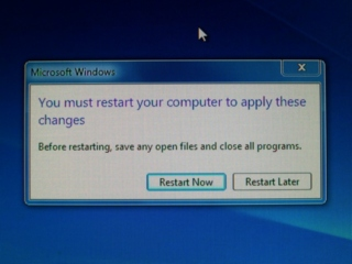 Windows 7 - You must restart your computer