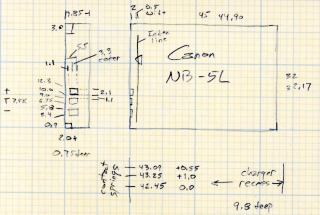 NB-5L Battery Dimensions
