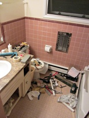 Bathroom tool midden heap
