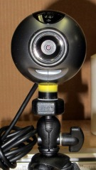 Logitech ball camera on tripod
