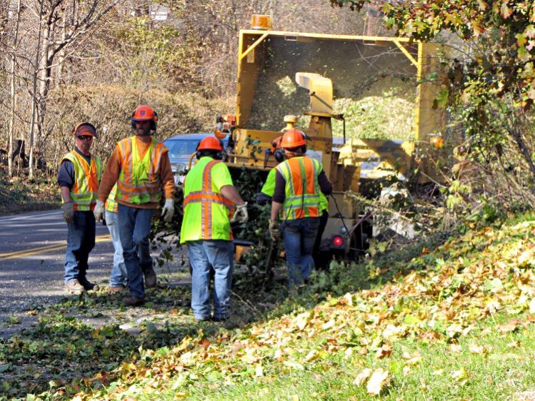 NYS DOT crew grinding branches