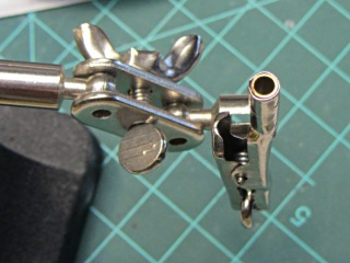 Alligator clip with brass tube insert