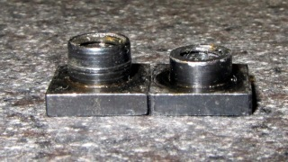 Original and shortened Sherline T-nuts
