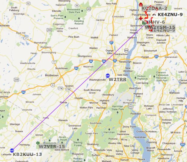 KE4ZNU-9 APRS to KB2KUU-13 - Lafayette NJ