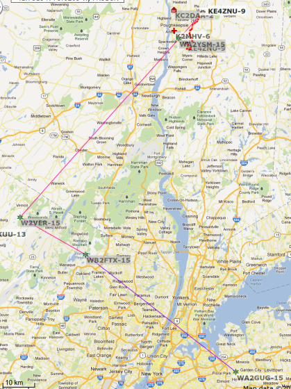 KE4ZNU-9 APRS to WA2GUG-15 - Long Island - 2012-02-01