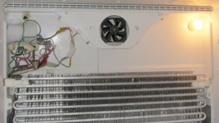 PC case fan installed in freezer