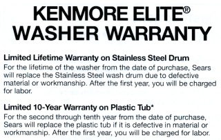 Sears Kenmore HE3 Washer Warranty