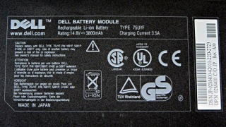 Dell 75YUF battery - label