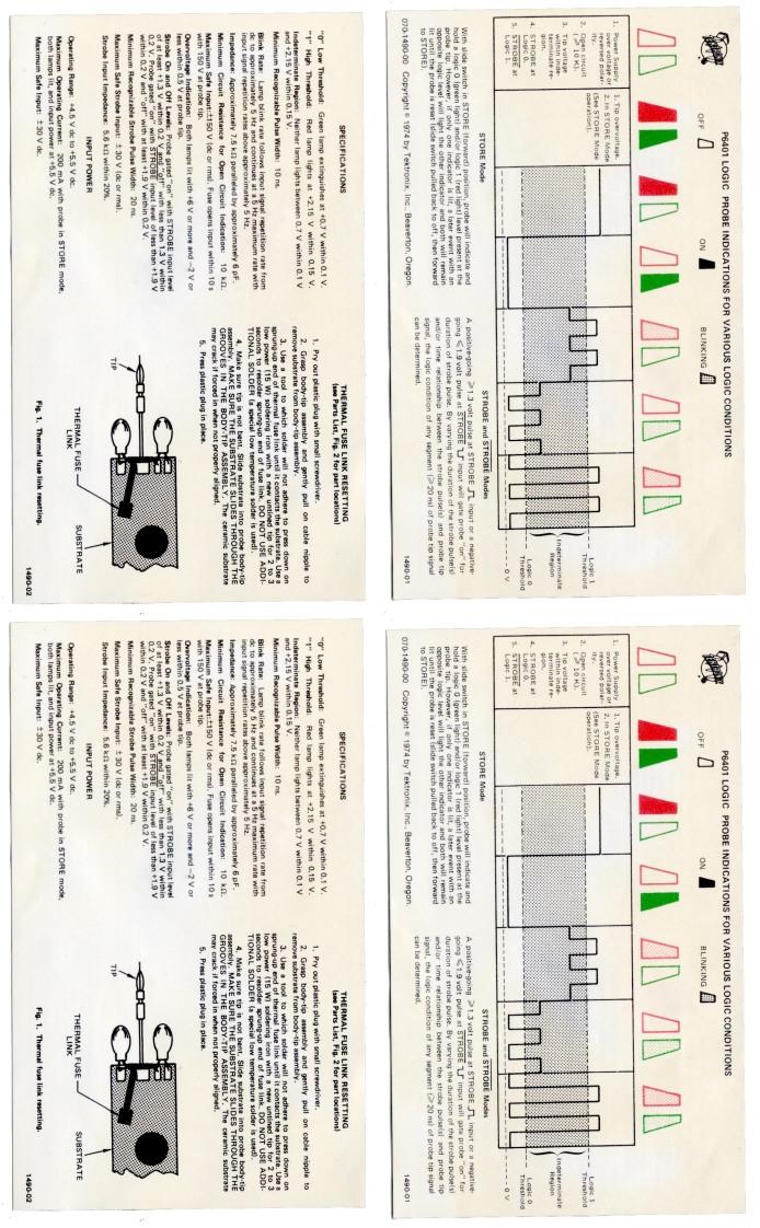 Tek P6401 Logic Probe - Specs and Usage Card
