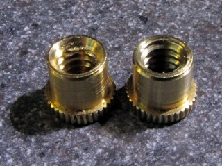 Sherline Y axis anti-backlash nuts - original vs cleared