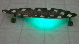 Longboard with variable RGB LED Ground Effect lighting