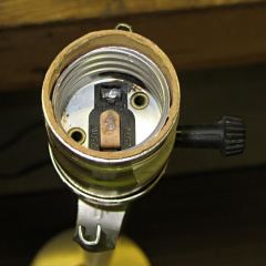 Interior of 3 way lamp socket