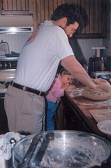 Ed & Karen kneading bread dough - Raleigh 1995-ish