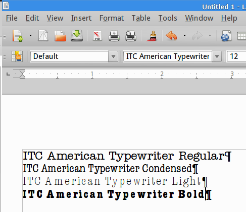 LibreOffice vs American Typewriter font