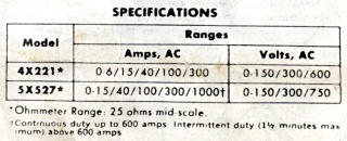 Dayton 4X221 Snap-Around Ammeter - Specifications