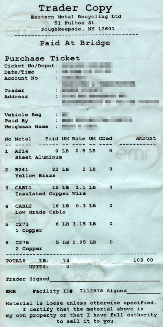 Scrap Metal Receipt - 2013-02