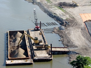 Poughkeepsie waterfront brownfield reclamation - gravel barge