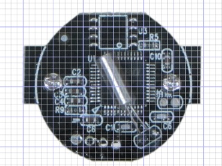 Camera PCB with grid overlay - unscaled