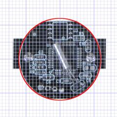 Camera PCB with grid overlay