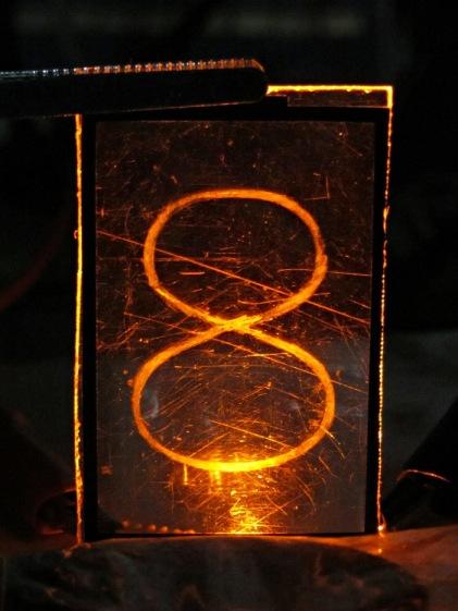 Edge-lit acrylic - front detail