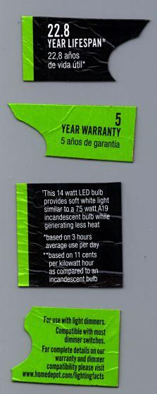Home Depot LED Bulb Warranty