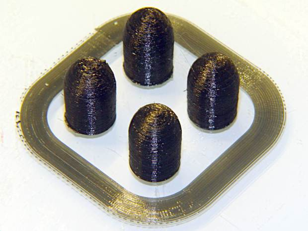 Dummy 9 mm Luger bullets - 0.1 mm layer - overhead on platform
